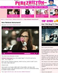 Perez Hilton's Artikel über Stefanie Heinzmann