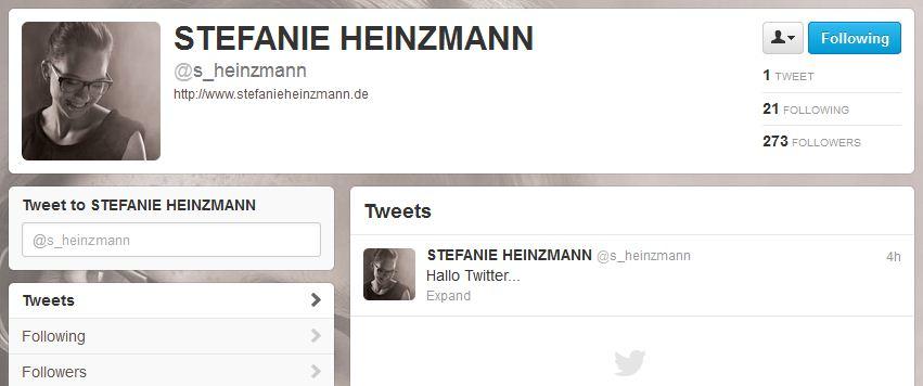 Stefanie Heinzmann auf Twitter